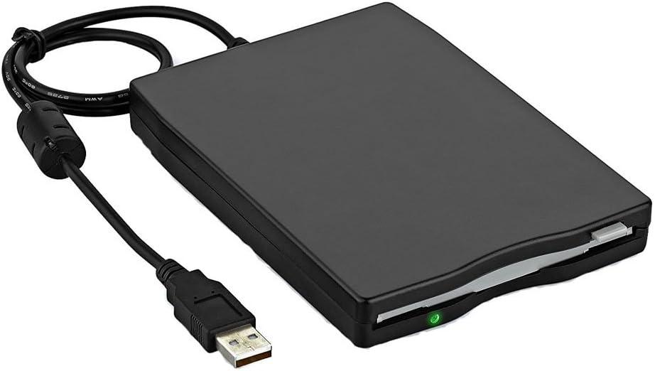 "Yunchenghe 3.5"" USB Floppy Drive 1.44 MB FDD Portable External Floppy Disk Drive USB Floppy Drive Reader Plug and Play for PC Windows 10 8 7 Windows 98 2000 Windows XP Vista Mac - Black"