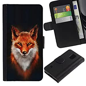 SAMSUNG Galaxy S5 V / i9600 / SM-G900 , la tarjeta de Crédito Slots PU Funda de cuero Monedero caso cubierta de piel ( Fox White Orange Red Art Portrait Painting)