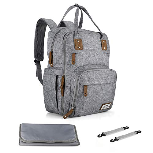 Land Diaper Bag Hands-Free Baby Maternity Nappy Bag Backpack with Changing Pad Stroller Straps