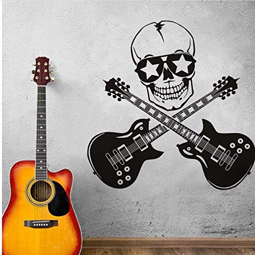 Wall Stickers Cool Design Funny Wall Stickers Skull and Guitar Art Vinyl Bedroom Decor Wall Mural Guitar Rock Silhouette Wall Decals -
