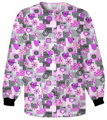 Cherokee Scrub H.Q Women's Crew Neck Words Of Love Print Jacket Medium (Love Print Scrub)