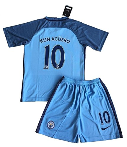 Manchester City 2016-2017 Aguero #10 Kids/Youths Home Soccer Jersey & Shorts Set (11-13 years)