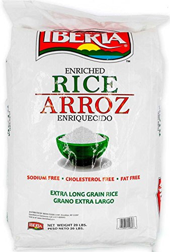 (Iberia Enriched Extra Long Grain Rice, 20 lb, Sodium Free Rice, Cholesterol Free Rice, Fat Free Rice, Bulk 20 lb Rice)