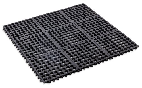 Kempf Rubber Anti-fatigue Drainage Mat, Interlocking for Wet and Dry Areas, 36-Inch by 36-Inch, Black