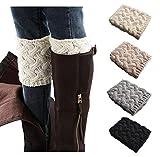 Xugq66 4 Pack Women Winter Crochet Knitted Boot Cuffs Socks Short Leg Warmers (4 Pair-04)