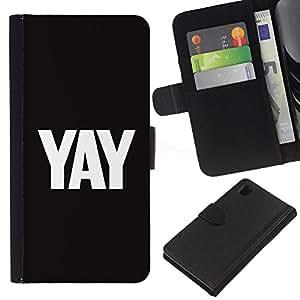 WINCASE Cuadro Funda Voltear Cuero Ranura Tarjetas TPU Carcasas Protectora Cover Case Para Sony Xperia Z1 L39 - blanco cartas de texto yay negro fresco