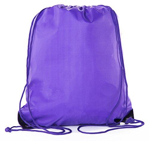 Mato & Hash Drawstring Bulk Bags Cinch Sacks Backpack Pull String Bags | 15 Colors | 1PK-100PK Available (Purple Drawstring Backpack)