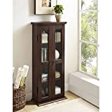 41'' Wood Media Cabinet, Driftwood, Stylish, Sturdy Design, Rich Textured Finish, High-Grade MDF With Durable Laminate, Holds Approximately 100 DVDs, Adjustable Shelving, Double Doors With Glass Panes