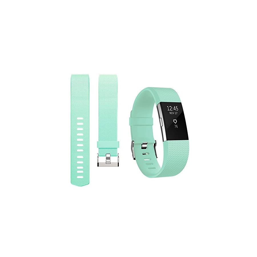 iGK Replacement Bands Compatible for Fitbit Charge 2, Adjustable Replacement Bands with Metal Clasp Classic Edition Teal Large