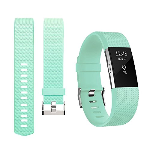 For Fitbit Charge 2 Bands, Adjustable Replacement Bands with Metal Clasp for Fitbit Charge 2 Wristbands Classic Edition Teal Large