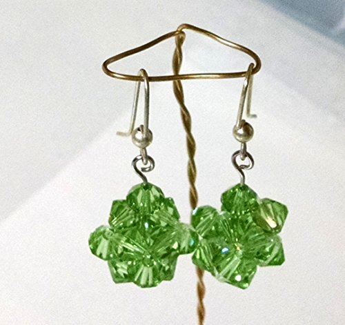 Peridot Green Swarovski Crystal Beaded Bead 1 1/8 Inch Fish Hook Sterling Silver Filled Earrings -