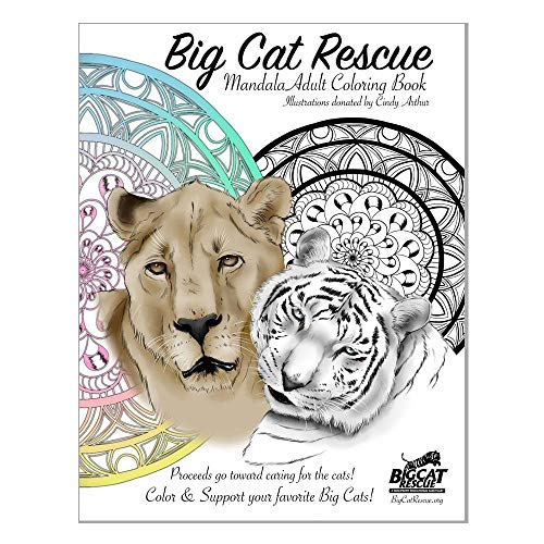 Book - Big Cat Rescue Adult Coloring Book, Entertainment, Women, Men, Teens, Relaxation