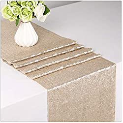 "SoarDream Sequin Table Runner Wedding Table Cloth Rectangle Table Cover Champagne Blush 12""x72"""