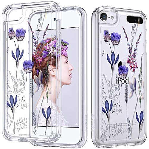 ULAK iPod Touch Case 6th Generation Floral,iPod 6 Clear Case, Slim Fit Anti-Scratch Flexible Soft TPU Bumper PC Back Hybrid Shockproof Protective Cover, Lavender