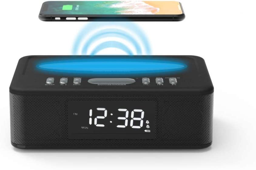 Kaito KA718 Voyager Home Bedside Alarm Clock Radio with Bluetooth Speaker & Wireless Mobile Charger, Black
