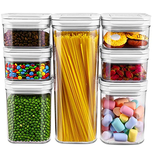 Airtight Food Storage Containers, Argus Le 7 Pieces BPA Free Plastic Cereal Containers, for Kitchen Pantry Organization and Storage