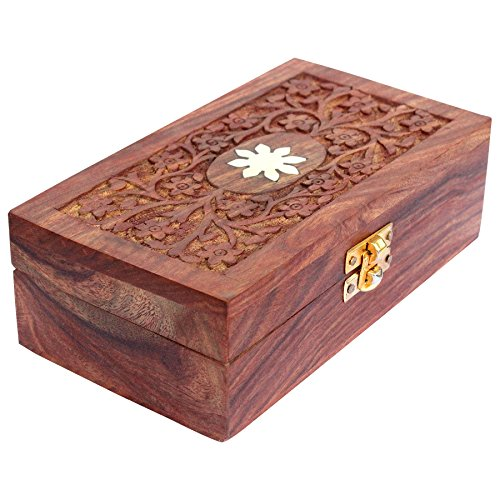 (ITOS365 Handmade Wooden Keepsake Storage Case Jewelry Box Jewel Organizer - Floral Hand Carvings - Gifts for Women, 7 x 4 Inches)