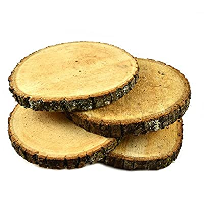 """NATURAL UNTREATED BASSWOOD SLABS 9"""" to 11"""" DIAMETER (Large) - Excellent for weddings, centerpieces, DIY projects, table chargers or decoration! By Woodland Decor (SET OF FOUR SLABS)"""