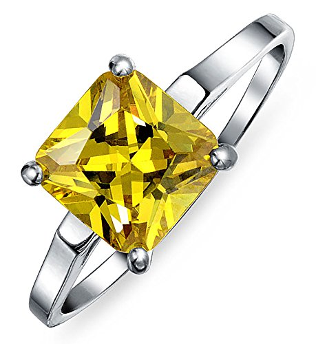 (Simple 5 CT Square Canary Yellow Princess Cut AAA CZ Solitaire Engagement Ring Thin Band 925 Sterling Silver For Women)