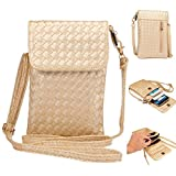 """Universal Cell Phone Cross-body Purse,Woven Design Shoulder Bag Soft PU Leather Carrying Cases for Apple iPhone 6s/6 Plus iPhone 6/6s,Samsung Galaxy S6 and Note Series and Phones Under 5.5""""-Gold"""
