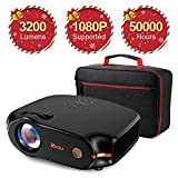 RAGU Z498 Mini Projector, 2019 Upgraded Full HD 1080P 180' Display Supported, 50,000 Hrs Home Movie...