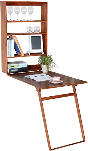 GLS Wall Mounted Floating Fold up Convertible Writing Desk with Storage Murphy Fold Out Table, Teak