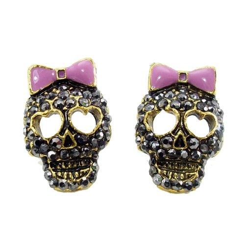 DaisyJewel Dark Skulls Top Seller Marcasite Crystal Sugar Skull Calavera Stud Earrings