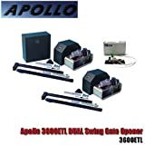 Apollo 3600 Dual Swing Gate Opener Articulating Arm PKG 2 Includes 2 Gate Openers to work as Master / Slave, 1 receiver, 2 Remote Control will handle a gate up to 1000 lbs and 20 feet per leaf Commercial Swing Gate Operator