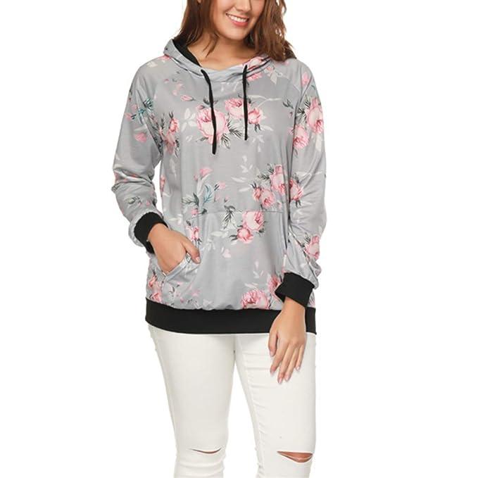 Mujer Sudaderas con Capucha, Lananas Mujer Moda Rosa Flor Impresa Manga Larga Gris Casual Pullover Sweatshirt Hoodies: Amazon.es: Ropa y accesorios