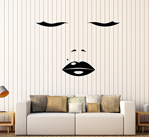 Vinyl Wall Decal Sexy Girl Face Eyelashes Lips Beauty Spot Stickers Large Decor (1595ig)