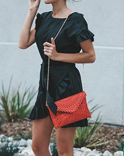 Geckatte Womens Ruffle Dresses Summer Casual Short Sleeve Wrap Empire Waist Belts Mini Dress