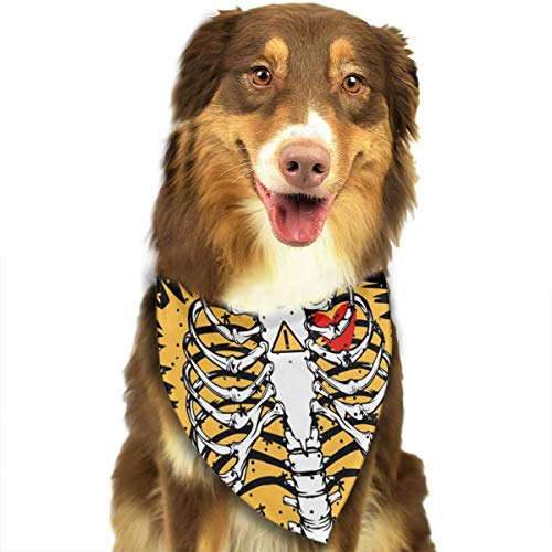 Pet Scarf Rib Cage Skeleton Electric Shock Triangle Bibs Bandanas Kerchief Set Pets Costume Decoration for Small Medium Large Dogs Cats ()