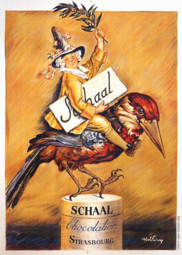 CHOCOLAT CHOCOLATE RIDING ON A BIRD SCHAAL STRASBOURG FRENCH LARGE VINTAGE POSTER - Poster Large Make