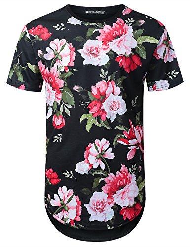 (URBANTOPS Mens Hipster Hip Hop Pink Floral Longline T-Shirt Black,)