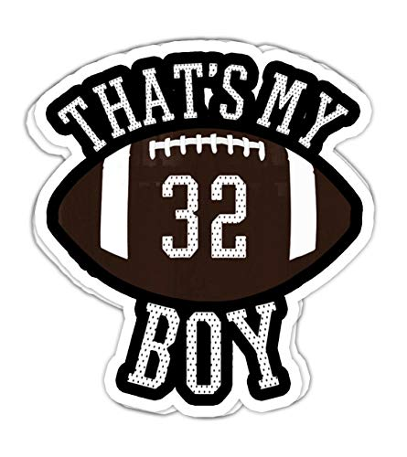 lkstore Thats My Boy #32 Football for Mom and Dad- 4x3 Vinyl Stickers, Laptop Decal, Water Bottle Sticker (Set of 3)