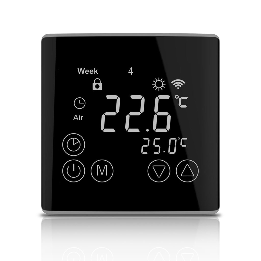 WELQUIC Smart WiFi Thermostat for Home and Office Programmable LCD Touch Screen Remote APP Control for Electric Heater Valve Actuator Control, 16A (Not for Water Heating)