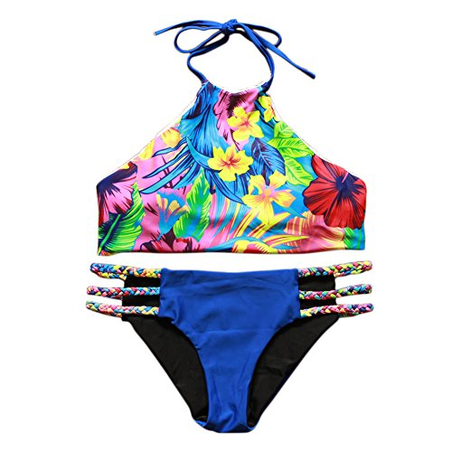 JIANLANPTT Pretty Women Girls High Neck Swimsuit Padded Tank Top Printing Swiwear Tropical flowers (Girls Pretty Tops)