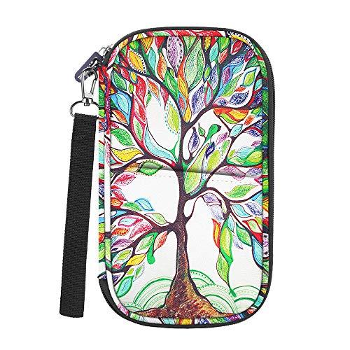 Family Passport Holder, Fintie RFID Blocking Zipper Case Document Organizer, Love Tree ()
