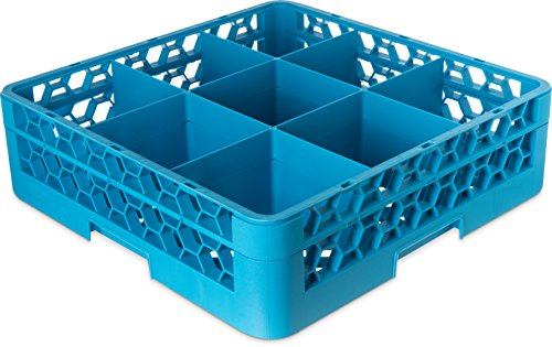 "Price comparison product image Carlisle RG9-114 OptiClean 9-Compartment Glass Rack w / 1 Extender,  Polypropylene,  20.88"" Length,  20.88"" Width,  5.56"" Height,  Blue (Case of 4)"