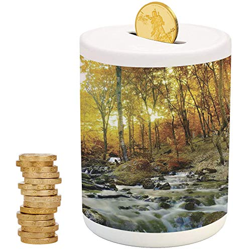 Landscape,Money Bank for Kids,Printed Ceramic Coin Bank Money Box for Cash Saving,Autumn River Creek Forest Falling Leaves Rocks Trees Foliage Sunbeams Branches