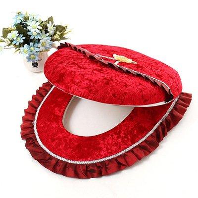 GYSDVHO 2Pcs/Set Warm Toilet O Type Toilet Seat Cover Toilet Seat Cushion Polka Dot Lace Short Plush Pad Diamond Velvet Cushion Toilets Red by GYSDVHO (Image #1)