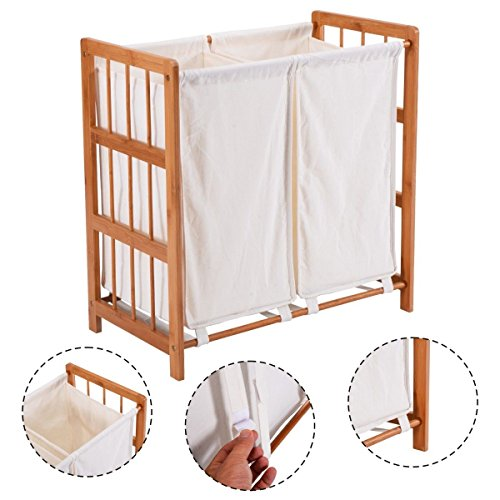 Eco-Friendly Construction Household Bamboo Frame Laundry, Clothes Hamper With Bag And Sorter, A Great Way For Collecting Laundry Items Like Towels, Linen, Clothing, And More In Your (Black Wet Look Bean Bag)