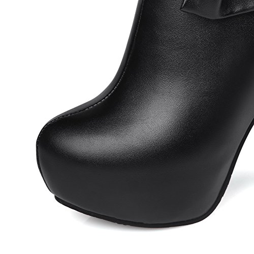 Solid PU Black Zipper Women's High Top Low Boots AgooLar Heels vZCwxqIfq