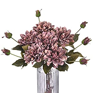 """Sunmboutique Artificial Lotus Flowers Water Lily, Silky Lotus Lilies Flower Bouquet with Rods for Wedding Party Holiday Garden Pond Home Decor, 24"""" 72"""