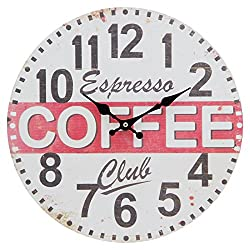 12 Wall Clock with Coffee Shop Espresso Club Faded Design Rustic Prints