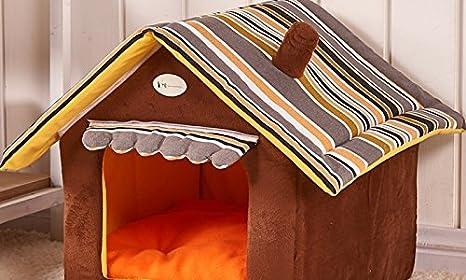 EGLEMTEK Caseta para Perros Gatos de Interior Cuna de Peluche con Forma de casa con cojín Sofá Cama supletoria Talla M: Amazon.es: Jardín