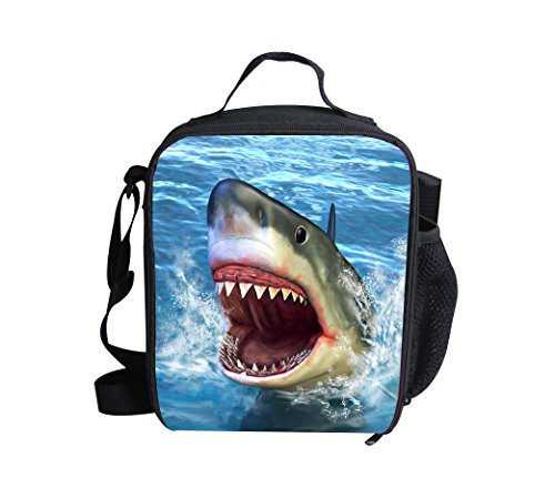 3D Shark Print Insulated Lunch Bags For Kids Animal Pattern Lightweight Lunch Box ()