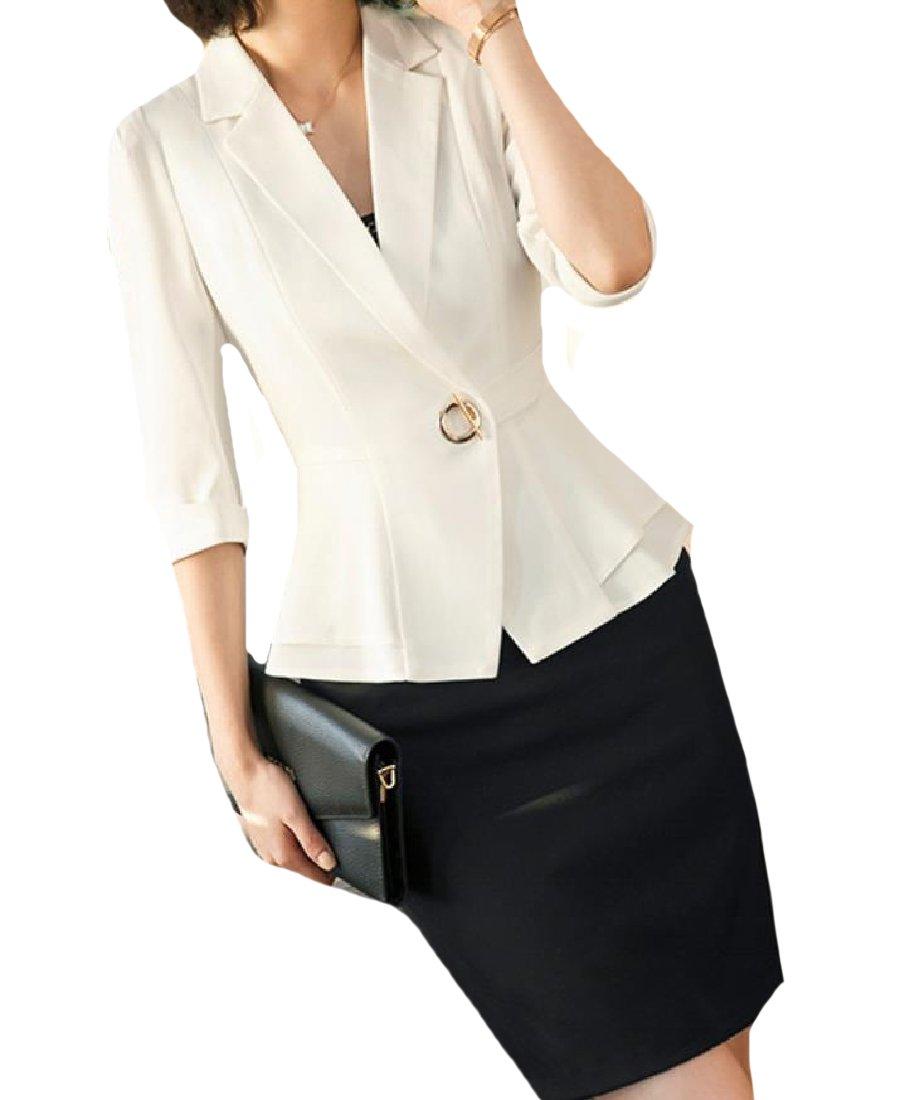 Zimaes-Women Wear to Work Ruffled Classic Fit Suit Blazer 2-Piece