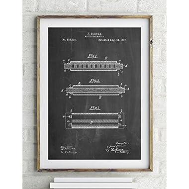 Hohner Harmonica Patent Poster Color Vintage Parchment Size 20x30