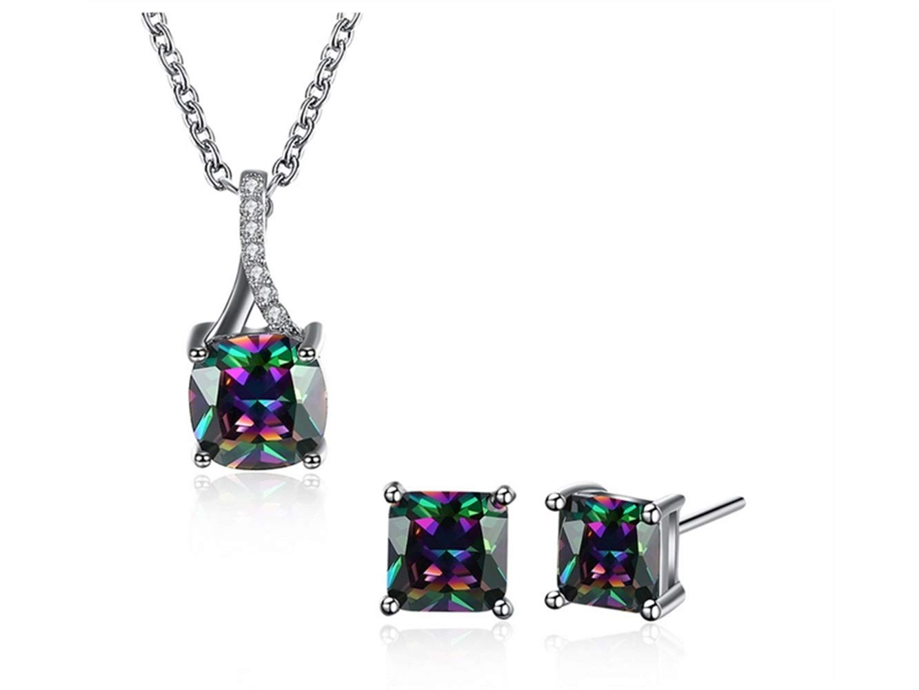 Yuchoi Girl Jewelry Fashion Square Color Zircon Necklace Stud Earrings Decoration Suit